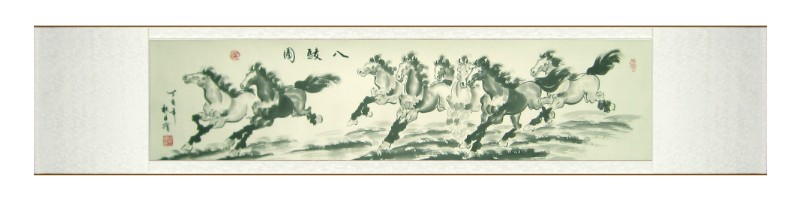 chinese horses feng shui scroll art painting