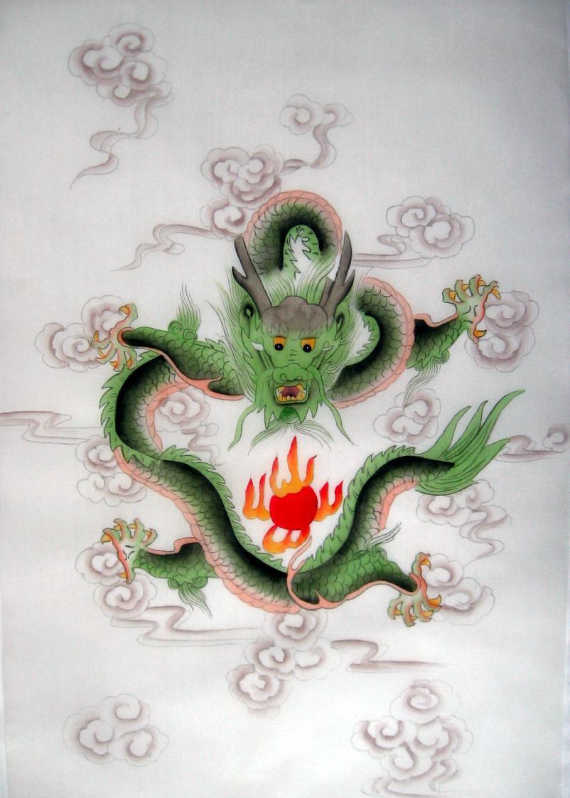 6310acc06 Feng Shui Green Dragon Silk Painting