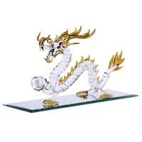 Feng Shui Spun Glass Gold Dragon