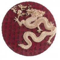 Feng Shui Golden Dragon Round Plaque