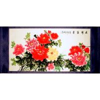 Chinese Feng Shui Peony Flowers Scroll Painting
