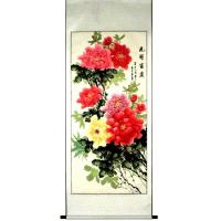 Chinese Peony Flowers Feng Shui Scroll Painting