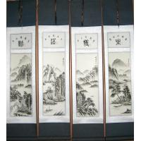 Feng Shui Chinese Mountain Fishermen Scroll Painting