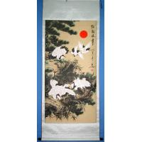 Feng Shui Chinese Cranes, Pine Trees Scroll Painting