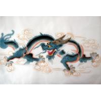 Feng Shui Chinese Blue Horned Dragon Silk Painting
