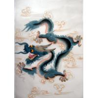 Feng Shui Chinese Blue Dragon Silk Painting